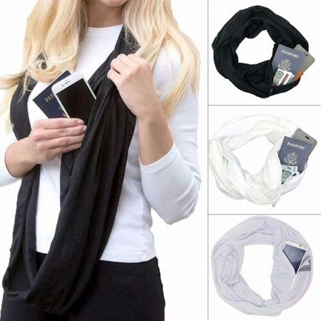 Additional Zippered Pockets - Women Infinity Zipper Pocket Scarf Convertible Journey Scarf with Pocket,Black
