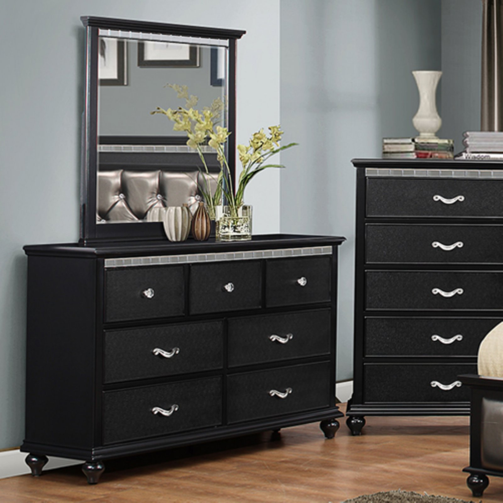K&B Furniture Hollywood Wood Bedroom Dresser with Optional Mirror