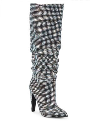 Crushing Embellished Knee-High Boots