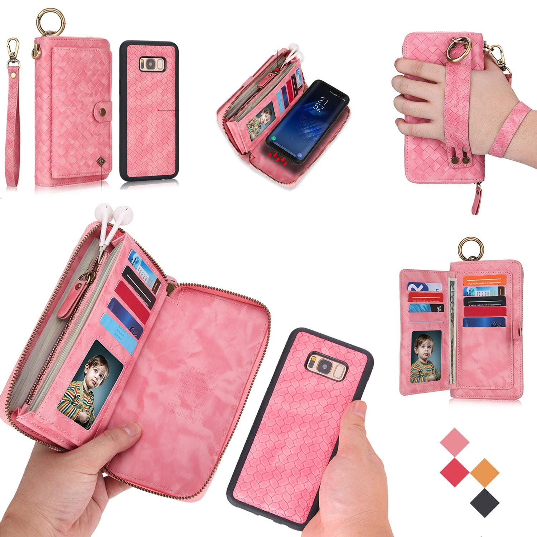 UEEBAI Wallet Case for Samsung Galaxy S8 Premium Vintage PU Leather Magnetic Closure Handbag Zipper Pocket Case Kickstand Card Holder Slots with Wrist Strap TPU Shockproof Flip Cover Black
