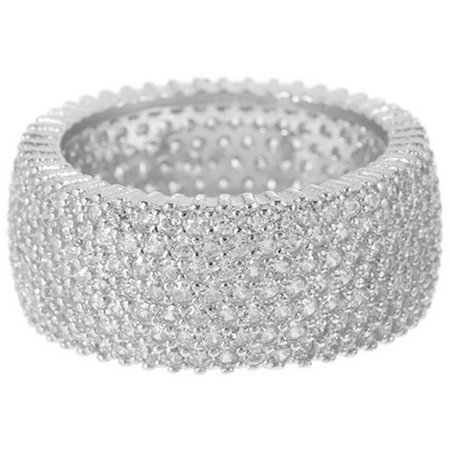 Micropave CZ Sterling Silver Wide Eternity Band Ring, Available in 7 Sizes ()