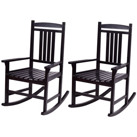 Black Slipper Chair (Costway Set of 2 Wood Rocking Chair Porch Rocker Indoor Outdoor Patio Furniture)