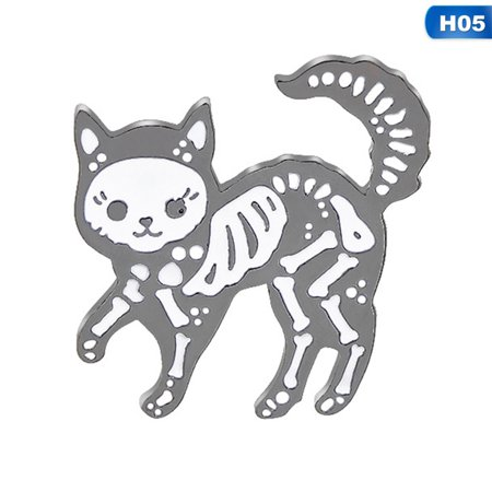 Halloween Cat Face Pics (KABOER Halloween Quirky Skeleton Cat andRose Ghost Badge Brooch Gift Novelty Fancy)