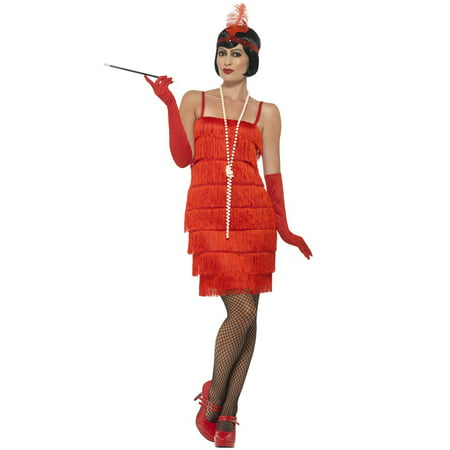 Short Flapper Dress Adult Costume (Red) - Red Flapper