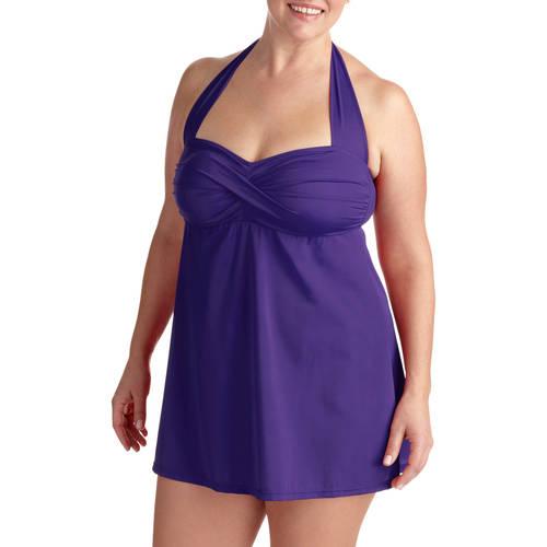 Suddenly Slim By Catalina Women's Plus-Size Retro Shirred Halter Slimming Swimdress