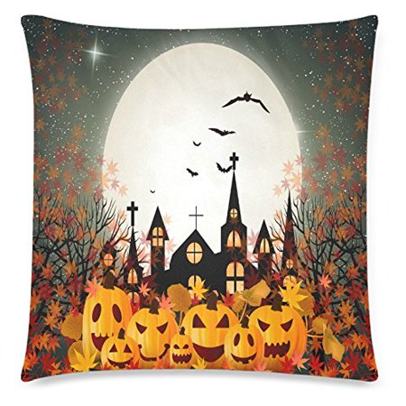 ZKGK Halloween Orange Pumpkin Full Moon Home Decor Pillowcase 18 x 18 Inches,Autumn Maple Leaf Glitter Pillow Cover Case Shams Decorative - Last Full Moon On Halloween