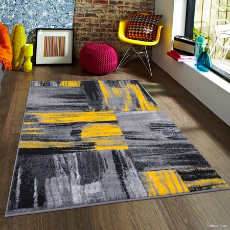 Yellow AllStar Modern. Contemporary Woven Area Rug. Drop-Stitch Weave Technique. Carved Effect. Vivid Pop Colors (5' x 6'