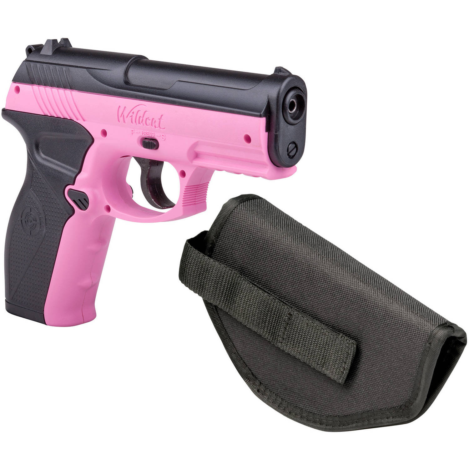 Crosman Pink P10 Wildcat .177 Caliber Semi-Auto CO2 Air Pistol with Holster, 480fps