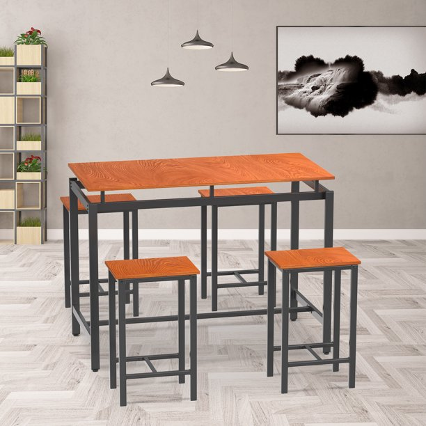 5 Pieces Counter Height Dining Set with 4 Chairs, Brown Modern Dining Room Table Set with Metal Frame and Wood Board, Small Dining Table Furniture Set for Cafeteria, Apartment and Farm House, L6043