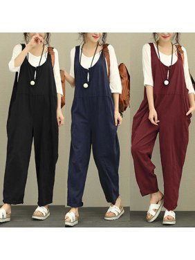 Oversized Womens Dungarees Strap Pants Harem Jumpsuit Trousers Baggy Overalls