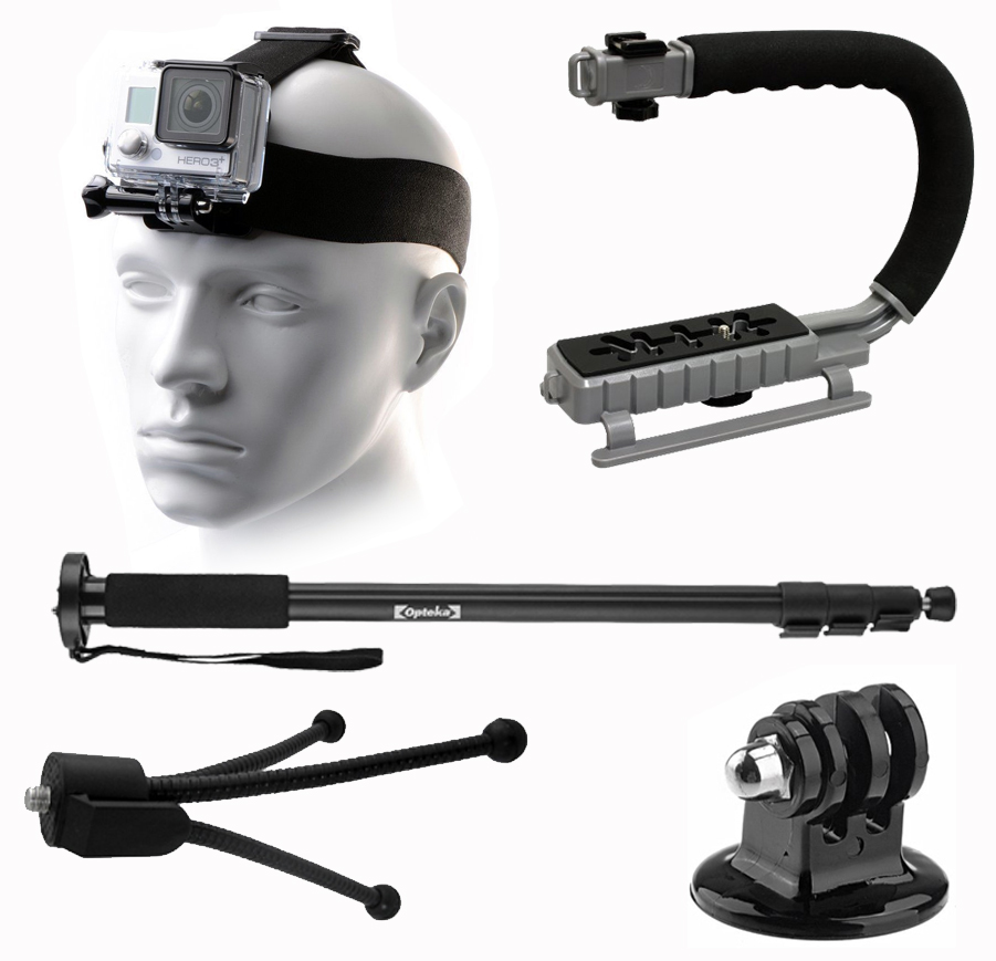 Adjustable Head Helmet Strap Mount, Selfie Stick, MoonGrip Action Stabilizing Video Handle, Mini Tripod, Dust Removal Cleaning Kit for GoPro Hero4 Hero3+ Hero3 Hero2 Hero 4 3+ 3 2 1 Camera Camcorder