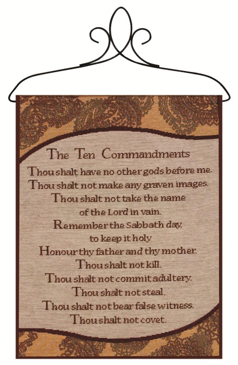 """Brown Victorian Paisley """"Ten Commandments"""" Wall Artwork Hanging Tapestry 13"""" x 18"""" by Manual Weavers"""