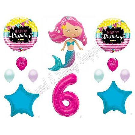PINK MERMAID 6th Birthday Party Balloons Decoration Supplies Ocean Luau Beach