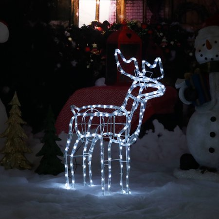 Sunnydaze Christmas Standing Deer White Led Light Display