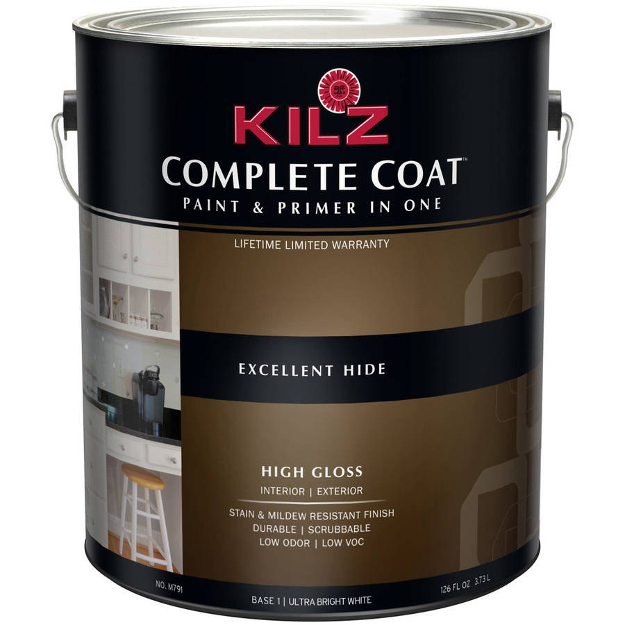 KILZ Complete Coat High-Gloss Ultra Bright White Base, 1 Quart