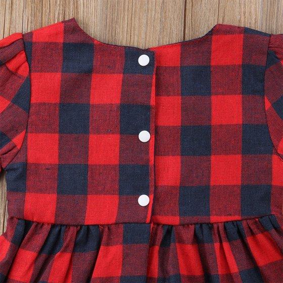 c948503e9 StylesILove - Baby Girl Buffalo Red Plaid Ruffle Long Sleeve Christmas  Cotton Dress (90/2-3 Years) - Walmart.com