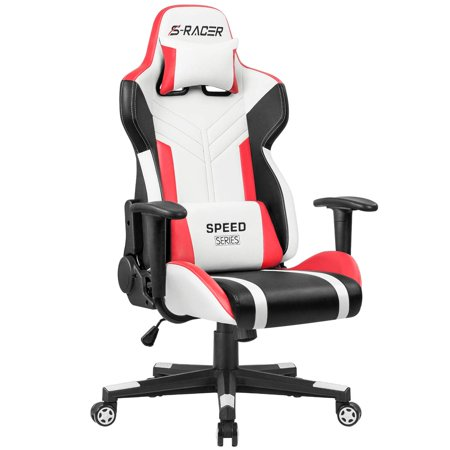 Homall Gaming Chair Racing Style High-Back PU Leather Office Chair Computer Desk Chair Executive and Ergonomic Swivel Chair with Headrest and Lumbar Support (White and Red)
