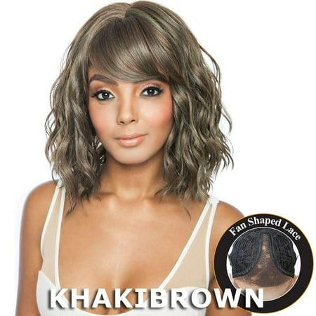 Brown Sugar Human Hair Blend Bang Lace Wig - BSB04 DIA (2 Dark Brown)