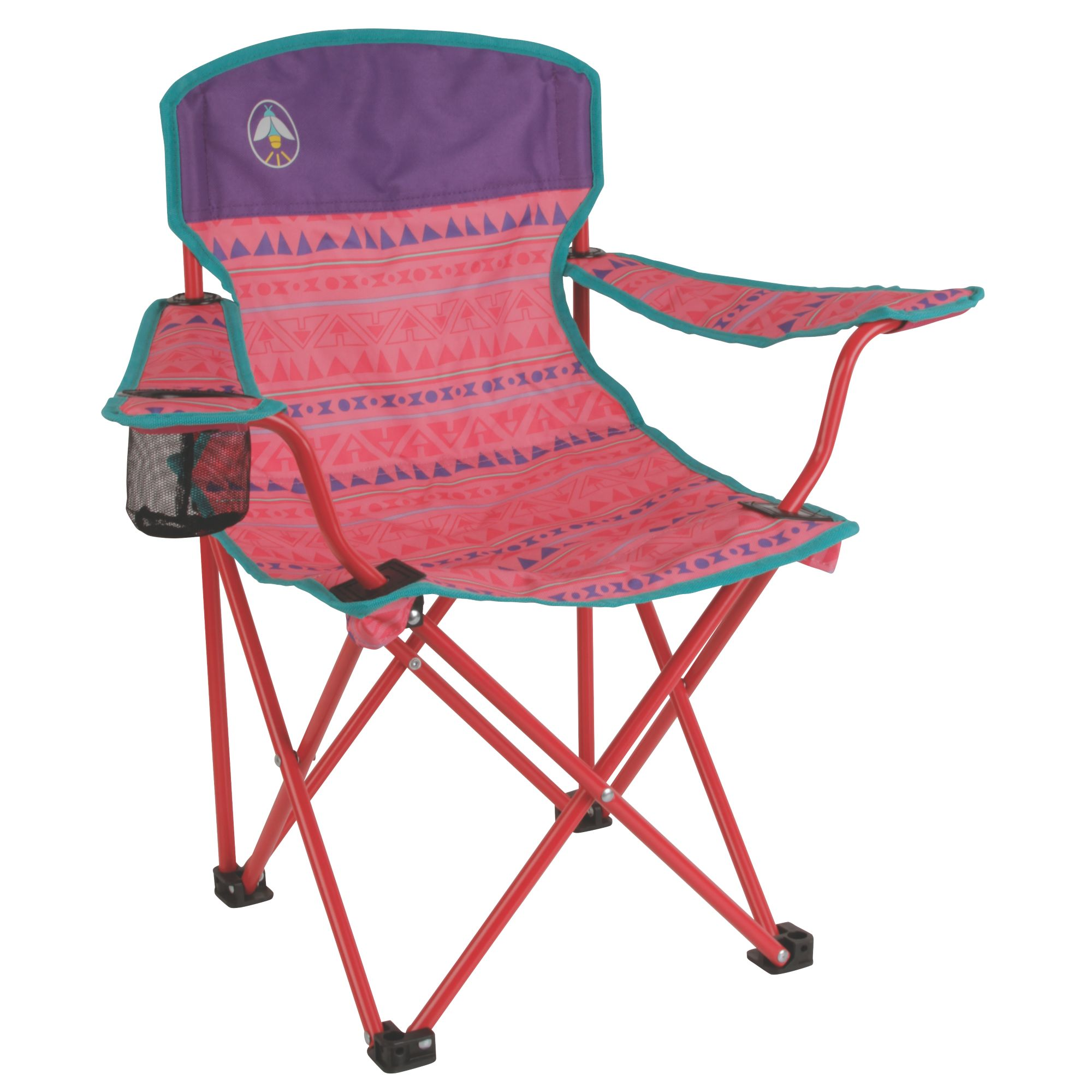 Bon Product Image Coleman Kids Camping Glow In The Dark Quad Chair, Tribal Teal/