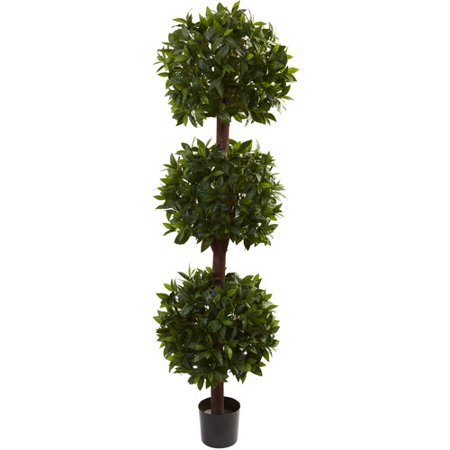 - Nearly Natural 6-1/2' Sweet Bay Triple Ball Topiary