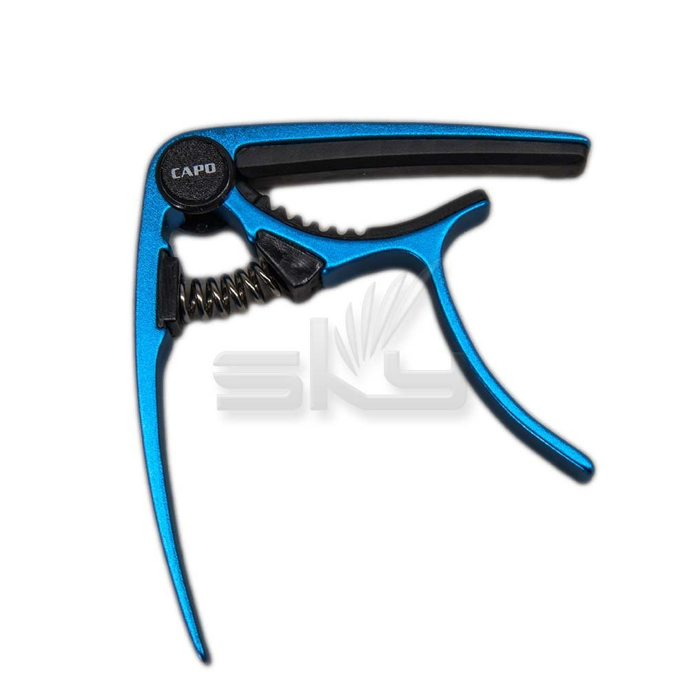 SKY Brand new Acoustic Electric Guitar Metal Quick Change Trigger Tune Key Capo Clamp, Blue Color