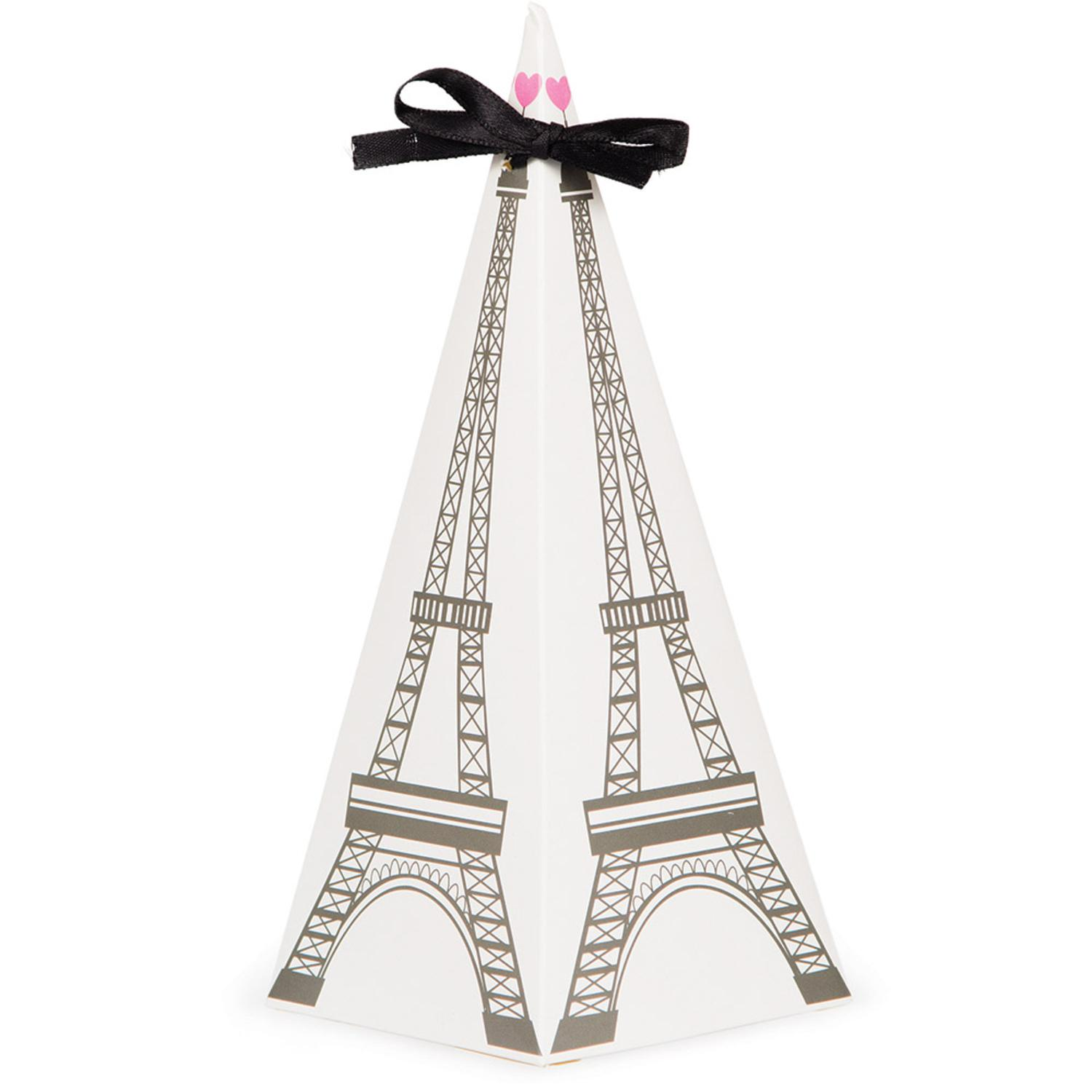 """Club Pack of 96 Black and White Cone Shaped Party in Paris Favor Boxes with Ties 9.5"""""""
