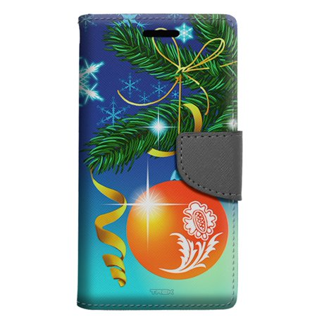 LG Fiesta Wallet Case - Christmas Tree Red Ornament on Blue Case
