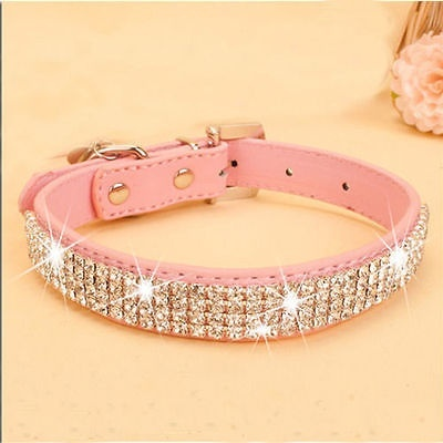 Adjustable Rhinestone Collar PU Leather Crystal Diamond Puppy Pet Dog Cat Buckle