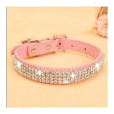 Bling Rhinestone PU Leather Crystal Diamond Puppy Collar Pet Dog Collars Loki Puppy Leather