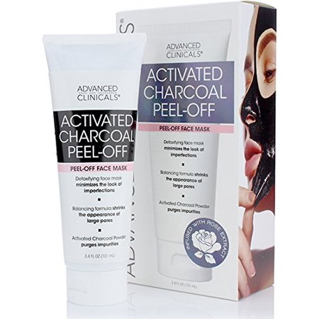 Advanced Clinicals Activated Charcoal Peel Off Face Mask for Large Pores, and Oily Skin. Tightens and Firms skin with Tea tree oil, Witch Hazel and natural extracts. 3.4oz