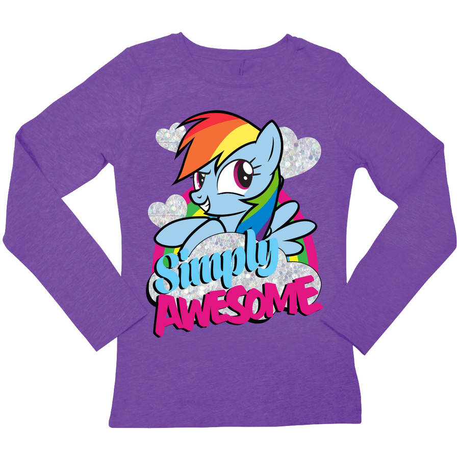 "Hasbro My Little Pony Rainbow Dash ""Simply Awesome"" Girls' Long Sleeve Crew Neck Graphic Tee T-Shirt"
