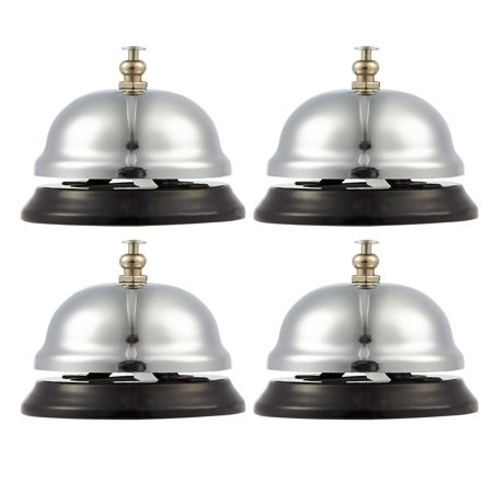 Call Bell - 4-Pack Customer Service Bell, Office Desk Bell, Ringing Bell - for Home, Store or Hotel, Small, Silver, 2.5 x 2 x 2.5 Inches (Store Card Customer Service)