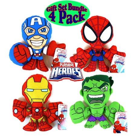 Marvel Super Hero Adventures Plush Figures Spider-Man, Iron-Man, Captain America & The Hulk Gift Set Bundle - 4 Pack, Gift Set Bundle Includes 4 Awesome Playskool.., By Playskool