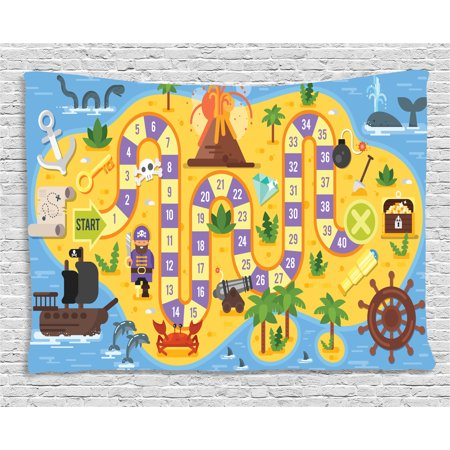 Kid's Activity Tapestry, Finding Treasure of the Pirate Themed Board Game Style Colorful Island Map, Wall Hanging for Bedroom Living Room Dorm Decor, 60W X 40L Inches, Multicolor, by Ambesonne](Pirate Treasure Map Game)