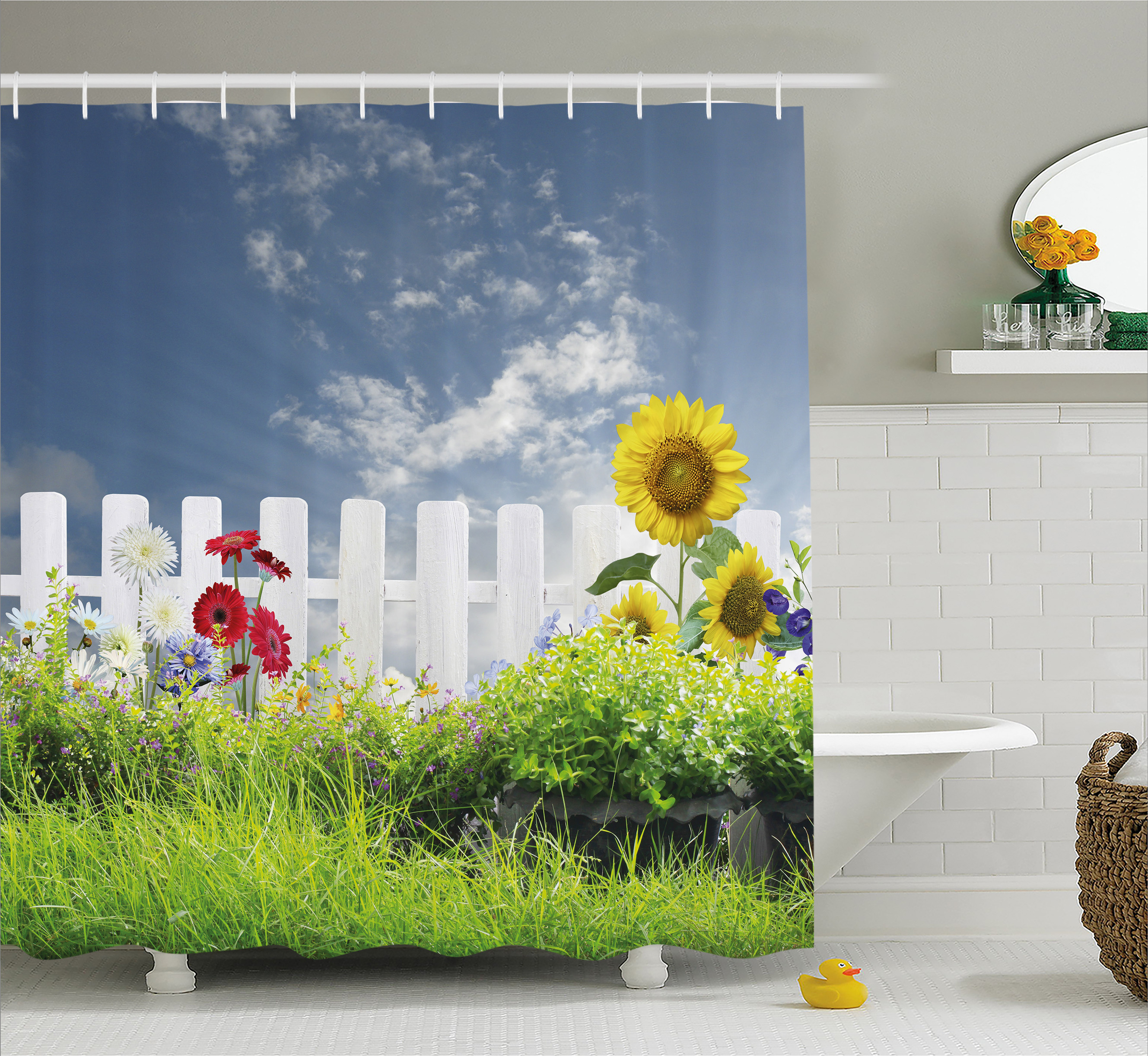Farm House Decor Shower Curtain, Grass Foliage Field with Bar Sunflowers Daisy Hedge Yard Cloudy Jardin, Fabric Bathroom Set with Hooks, 69W X 84L Inches Extra Long, White Green, by Ambesonne