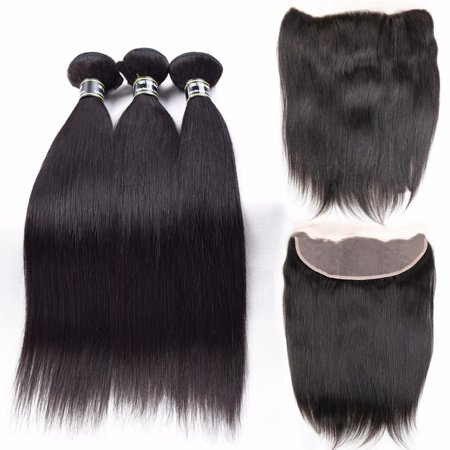Beroyal Straight Brazilian Virgin Human Hair 3 Bundles with Frontal Free Part, 16