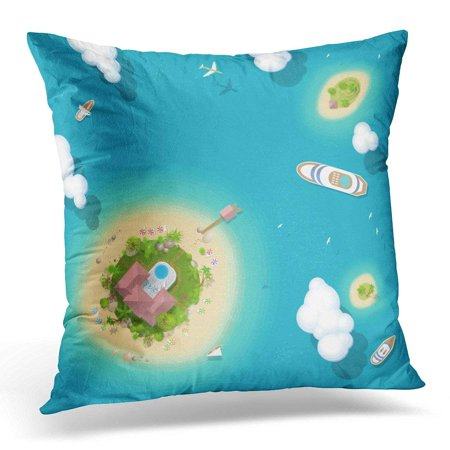 USART Summer Vacation The Islands and Ships Top View Time to Travel Sun Sea Sand Yacht Airplane Palm Clouds Pillow Case Pillow Cover 18x18 - Palm Z Airplane
