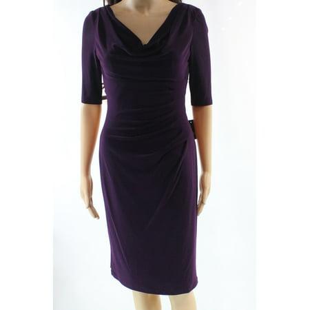 Lauren Ralph Lauren NEW Purple Womens Size 0 Cowl-Neck Sheath Dress