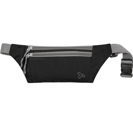Travelon Fanny Pack Double Zip Waist Pouch Travel Adjustable Belt Bag Black New