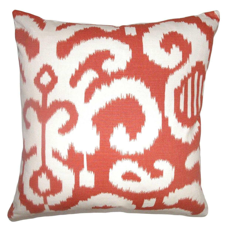 The Pillow Collection Sakon Ikat Bedding Sham Red Brown European//26 x 26