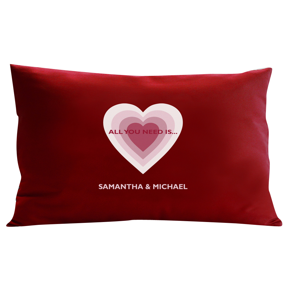 Personalized RedEnvelope All You Need is Love Pillow Blue 12x18