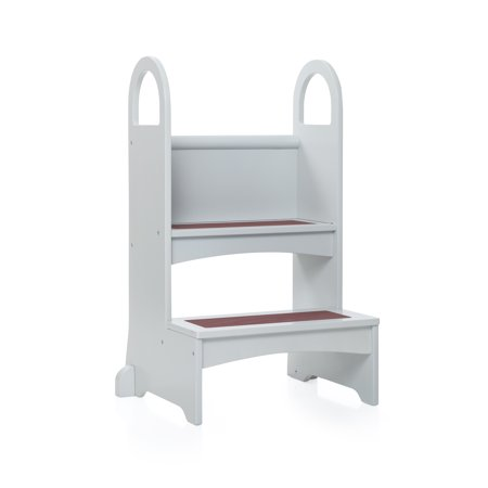 Wooden Step Stool - High Rise Step-Up - Gray