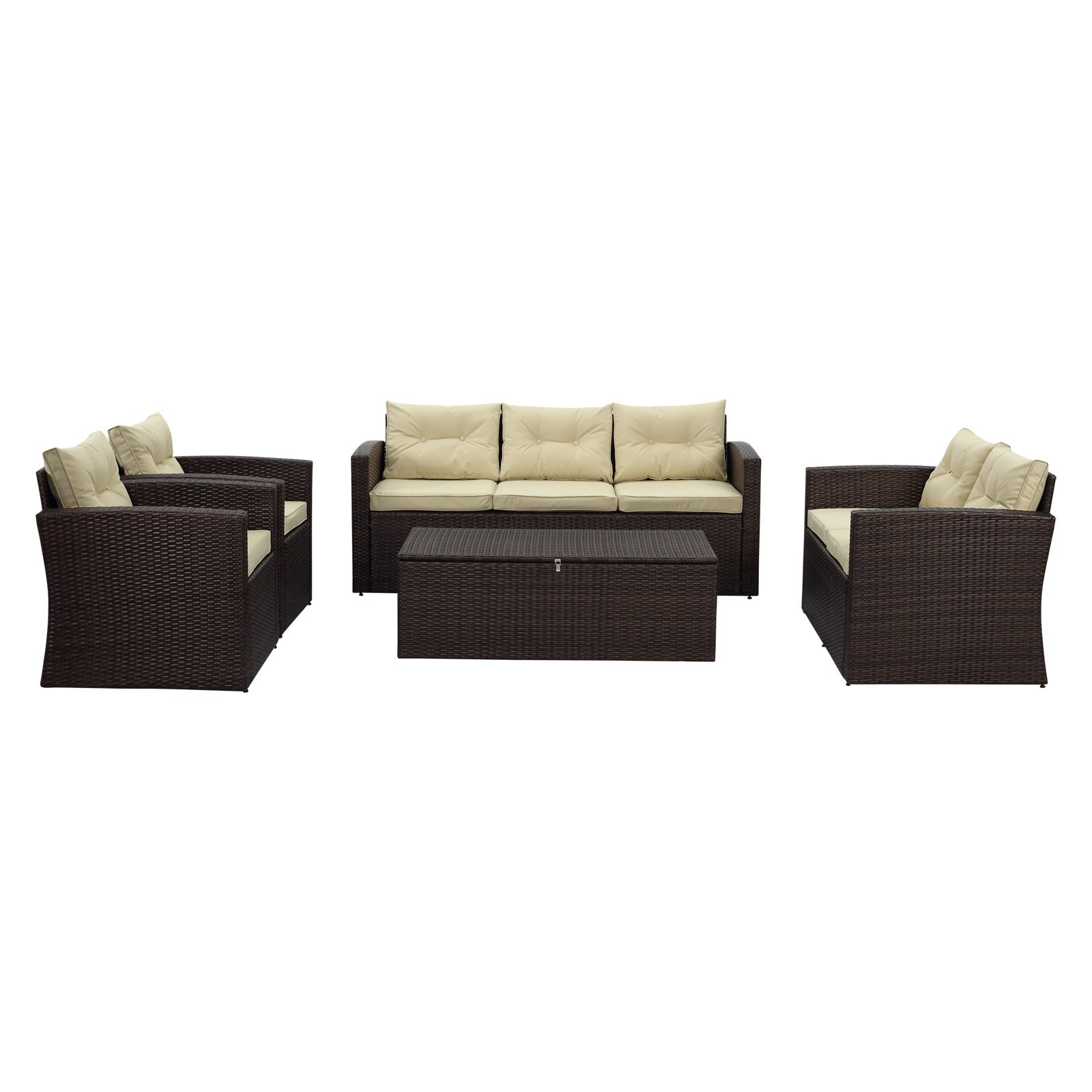Thy-Hom Rio Wicker 7 Seat All-Weather 5 Piece Patio Conversation Set with Storage by The-Hom