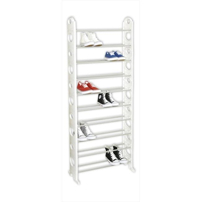 Home Basics SR00734 Shoe Rack 30 Pair White, by Home Basics