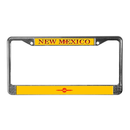 CafePress - New Mexico State Flag - Chrome License Plate Frame, License Tag (New Mexico State License Plate)