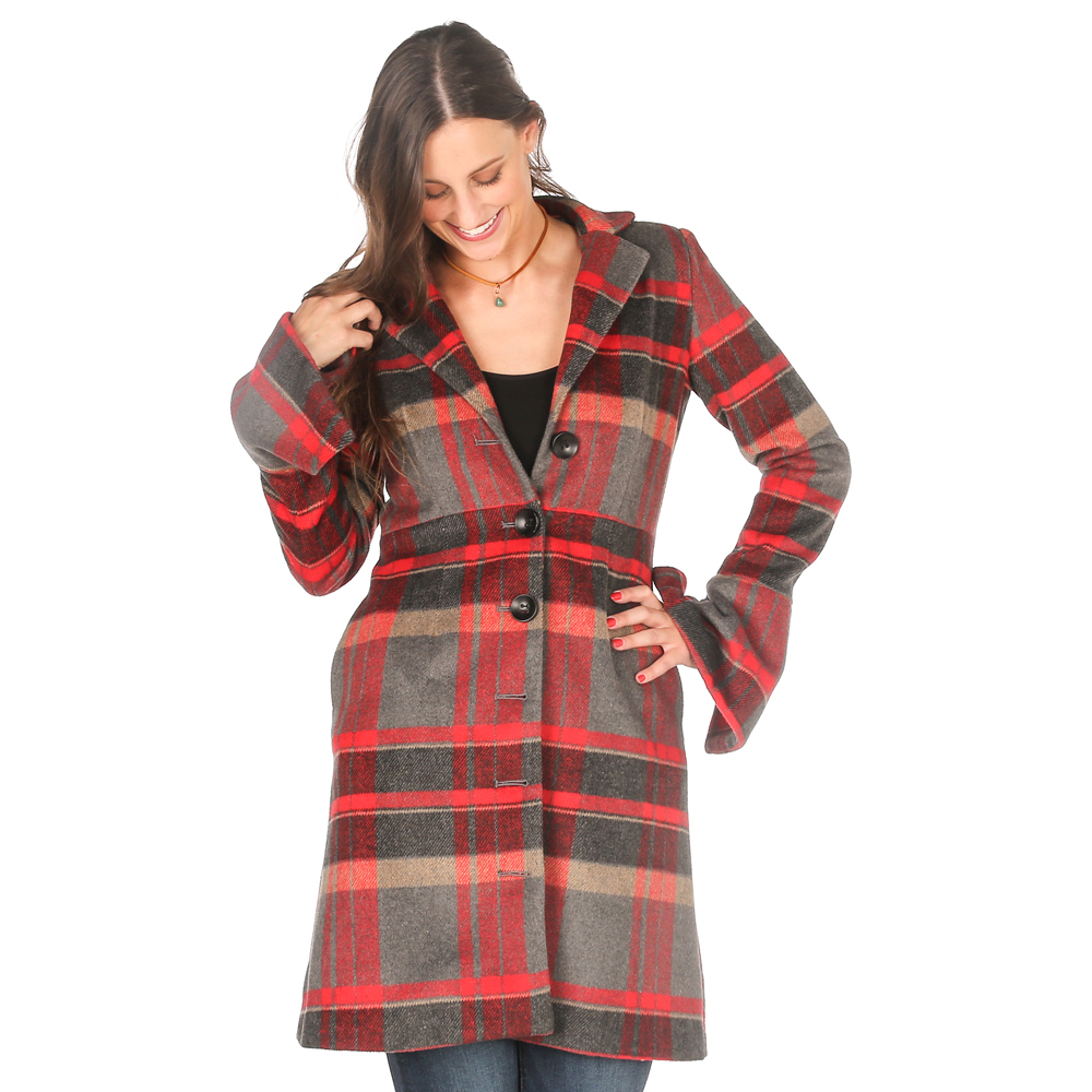 Stetson Apparel Womens Wool Plaid Long Jacket W Bell Sleeves by Womens Wool Coats