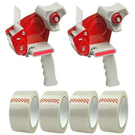 BENCHMARK - Packing Tape Dispenser Gun (2 Pack) - Plus 4 Free Rolls of Packaging Tape - Side Loading 2 Inch Lightweight Ergonomic Industrial Gun for Shipping, Moving, Carton and Box Sealing