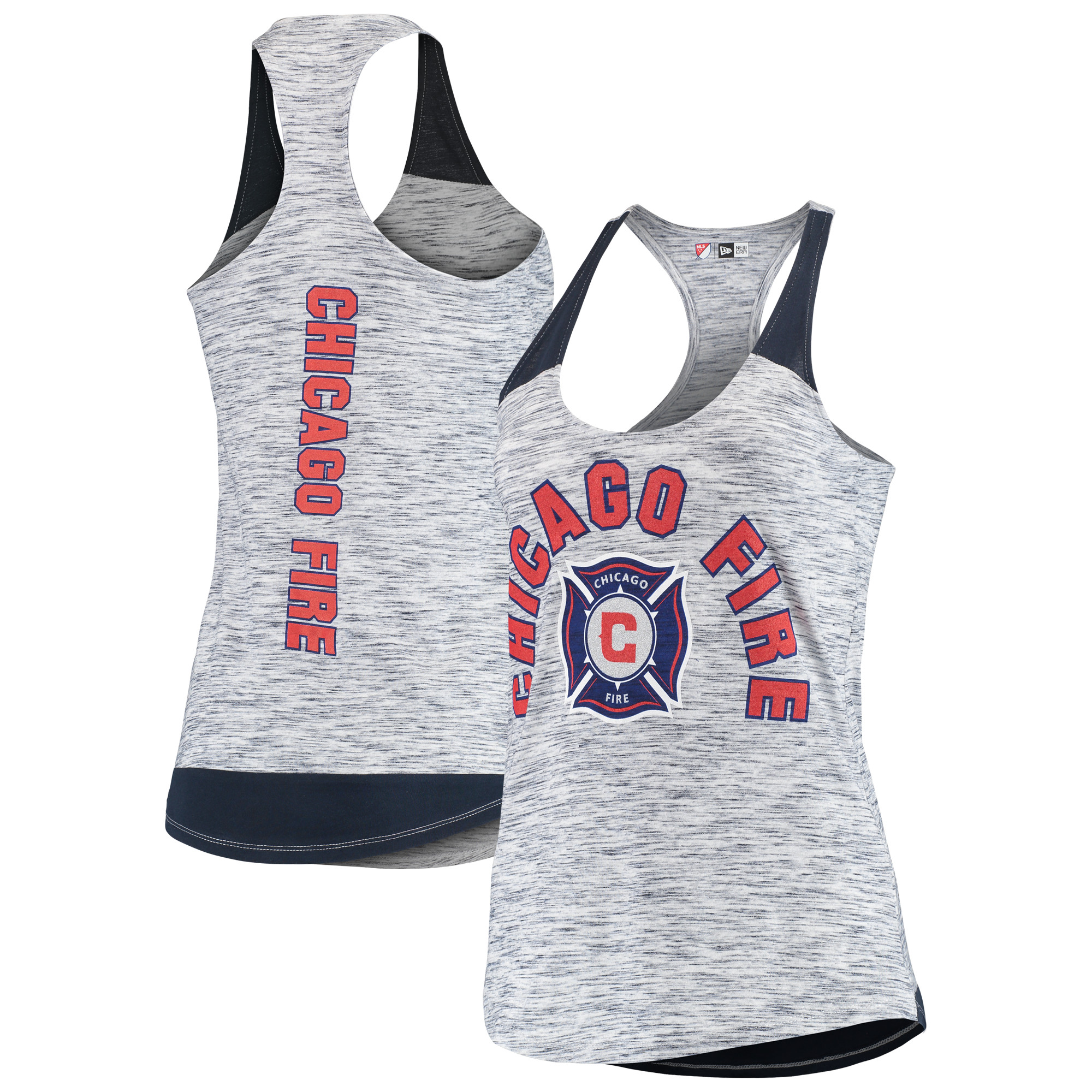 Chicago Fire 5th & Ocean by New Era Women's Space Dye Contrast Inserts Racerback Tank Top - Navy
