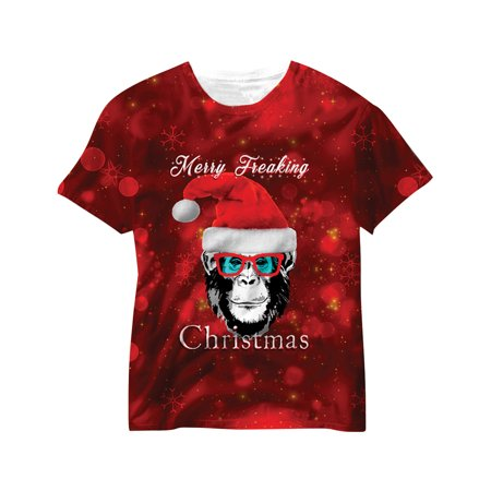 Monkey Christmas Sublimated T-Shirt, Shades and Santa Hat Large - Organ Grinder Monkey Hat