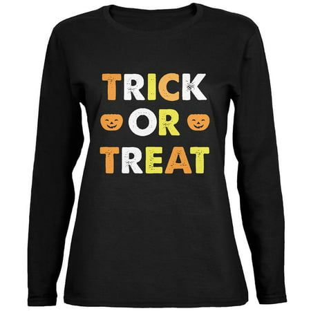 Halloween Trick Or Treat Black Womens Long Sleeve T-Shirt (Cute Halloween Treats Easy)